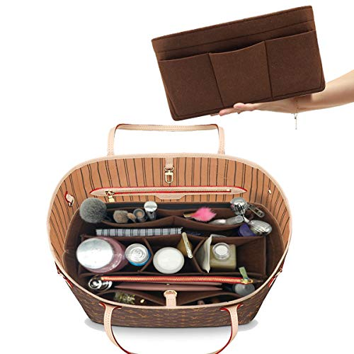 Felt Handbag Organizer,Insert purse organizer 8001 Brown S (Fake Vuitton Louis Handbags)