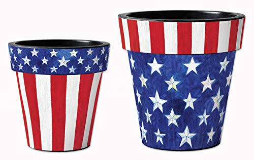Studio M Stars and Stripes Forever Art Planters Summer Patriotic Decorative Pots, Fade-Resistant Container for Outdoors or Indoors - Set of 2, Printed in The USA, 12 and 15 Inch Diameter