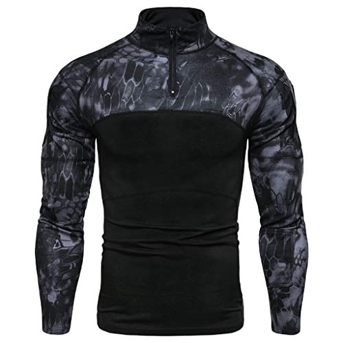 (Tronet Fashion Men's Military Rapid Assault Sleeve Slim Fit Long Sleeve Combat T-Shirt)