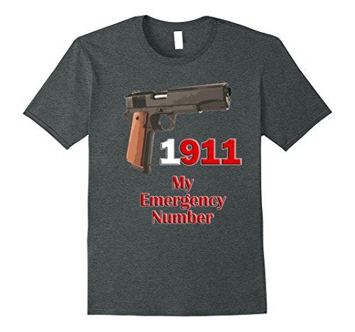 Mens 1911 My Emergency Number Pistol T-Shirt 3XL Dark Heather