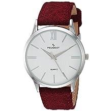 Peugeot 'Slim Case Burgandy' Quartz Metal and Leather Casual Watch, Color:Purple (Model: 2058WN)