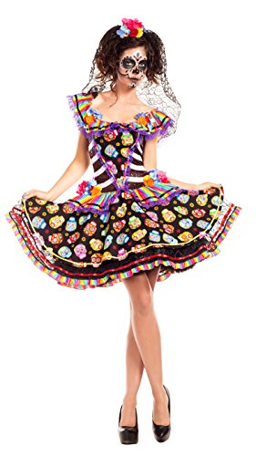 Party King Women's Sugar Skull Senorita Costume, Black/Multi, X-Large -