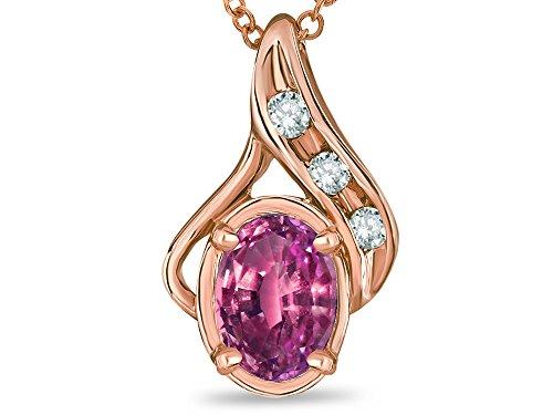 Star K Oval 7x5mm Genuine Pink Tourmaline Pendant Necklace 10 kt Rose Gold