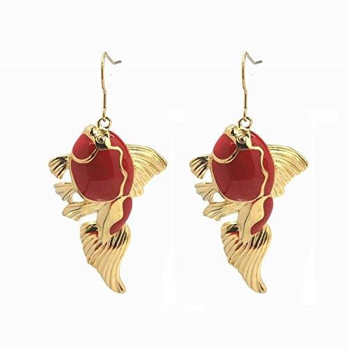 (De Buman 14k Yellow Gold Plated Enamel Fish Earrings)