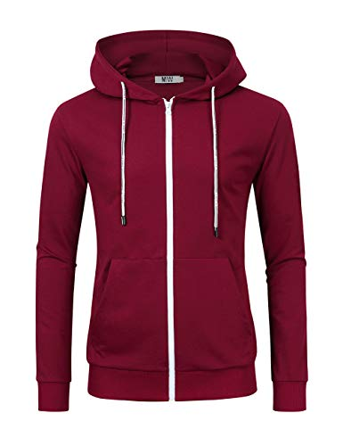 MrWonder Men's Casual Fit Long Sleeve Lightweight Zip up Pullover Hoodie Sweatshirt with Kanga Pocket (L, Burgundy) -