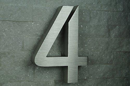 HAUSNUMMER EDELSTAHL Nr.4 / H20cm / ITC-Bauhaus in 3D-Design / V2A !!!