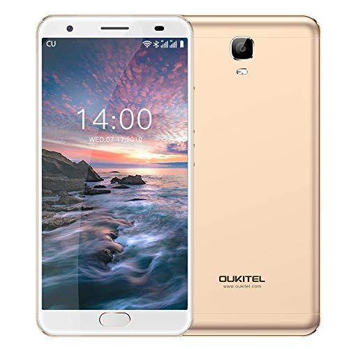 OUKITEL OK6000 Plus Unlocked Smartphones, 5.5  FHD MT6750T Octa-Core, 4GB RAM 64GB ROM Unlocked Cell Phones, 16MP Cameras, 6081mAh Big Battery, Dual Sim, Fingerprint Recognization-Gold