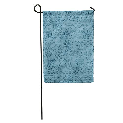 Semtomn Garden Flag Pretty Vintage Blue Floral Pattern Jacobean Vine Aged Flower Grungy Home Yard House Decor Barnner Outdoor Stand 28x40 Inches ()