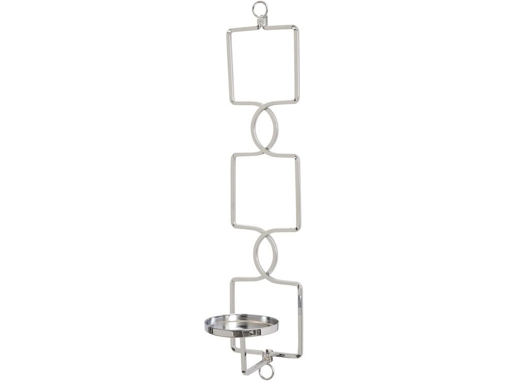 Purley Silver Squares Metal Candle Wall Sconce custom
