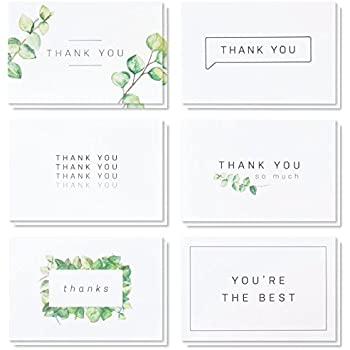 blank watercolor thank you cards 36 assorted boxed pack elegant floral green black white card designs bulk note box for graduation wedding