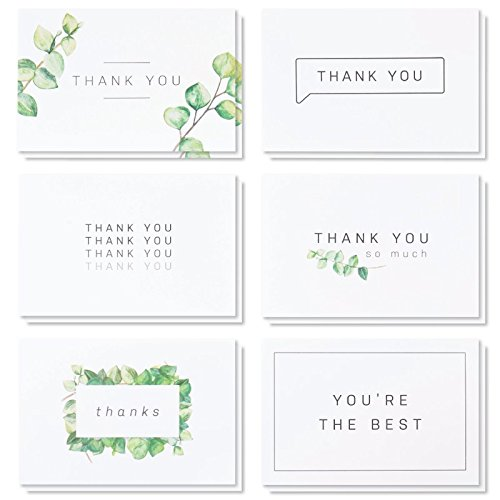 Pack Single Card (Blank Watercolor Thank You Cards: 36 Assorted Boxed Pack - Elegant Floral Green & Black & White Card Designs: Bulk Note Box for Graduation, Wedding, Bridal Party, Baby Shower, Men & Women Sympathy)