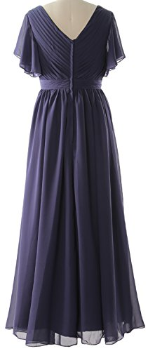 MACloth Women Short Sleeves Mother of the Bride Dress V Neck Formal Evening Gown Eggplant