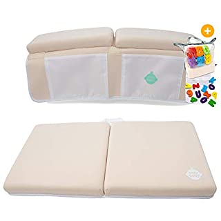 EZ 2-in-1 Baby Bath Kneeler and Elbow Rest Pad with Bath Toys - Non-Toxic, Foldable, Washable, Safe, Fun and Comfortable Bath Time- (Neutral)
