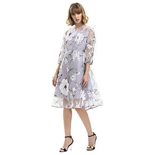 3/4 sleeve lace dress knee length - 7