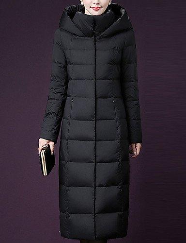 TT&SHANGYI Damen Daunen Mantel,Lang Einfach Lässig Alltäglich Übergröße Solide-Polyester Polyester Weiße Entendaunen Langarm , army Grün , xl