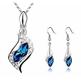 bestpriceam Women Crystal Pendant Silver Plated Chain Necklace Stud Earring Jewelry Set