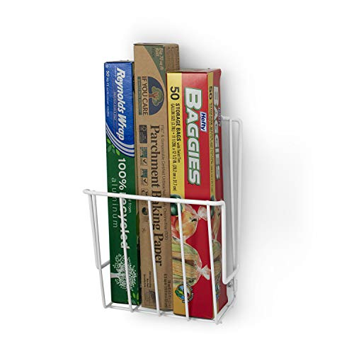 Takyl Home Cabinet & Wall Mount Food Wrap Organizer Rack for Plastic Storage Bags, Aluminum & Tin Foils, Wax & Parchment Paper Rolls, Cling Strech Wraps & More, White (Kitchen Roll Holders 10 Of The Best)
