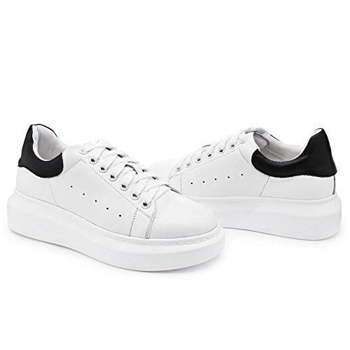 Shenn Mujer Moda Respirable Casual Bajo-top Cuero Entrenadores Zapatos 7700 Blanco&Negro