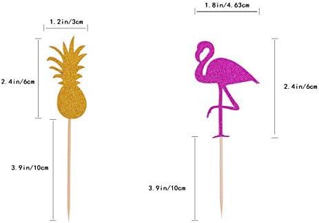 OUNONA Cake Tooper Flamingo Pineapple Coconut Tree Cake Picks for Beach Party 12 Counts