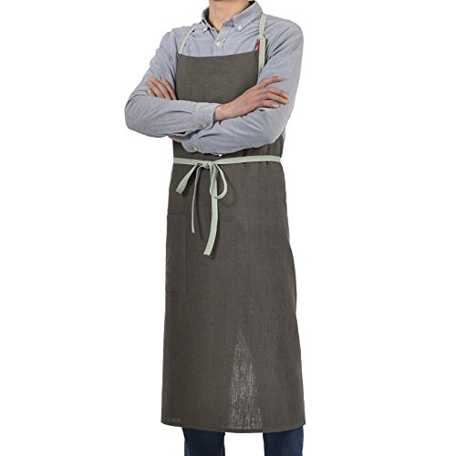 VEEYOO Cotton Linen Bib Apron Adjustable with Pocket Japanese Style, Smock Chef Apron for Women Men, Chocolate, 40x40 (Style Apron)