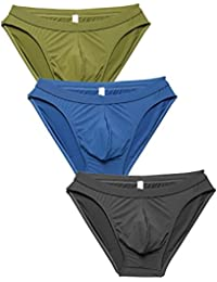 Men's Ice Silk Low Rise Sexy Bikinis and Briefs 4 Pack