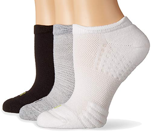 HUE Women's Air Cushion No-Show Liner Socks, 3-Pair, Light Charcoal Heather, One Size