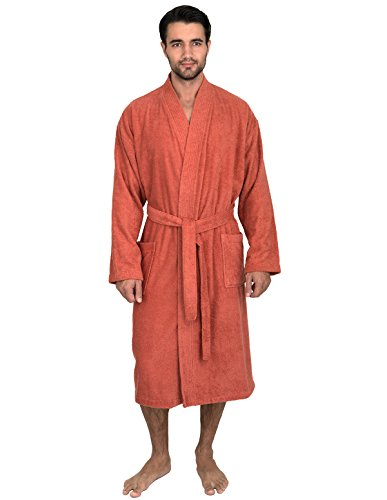 TowelSelections Men's Robe, Turkish Cotton Terry Kimono Bathrobe Large/X-Large Ginger Spice (Orange Robe)