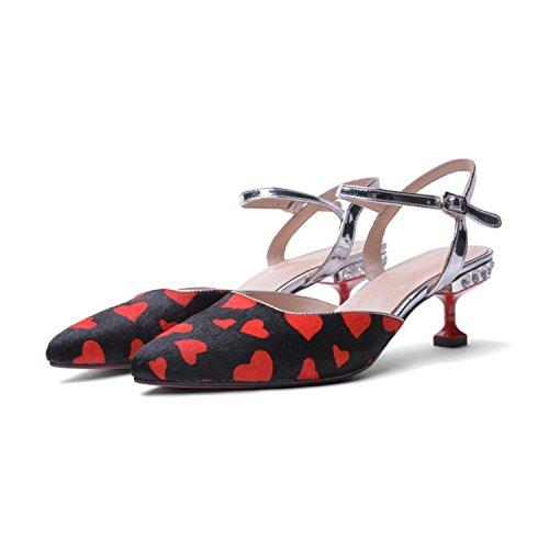 Jqdyl High Heels Weibliche Sandalen Sommer Stiletto Heels Damenschuhe  38|Black