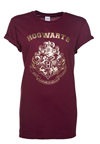 TruffleShuffle Womens Maroon Harry Potter Gold Hogwarts Crest Rolled Sleeve Boyfriend T Shirt
