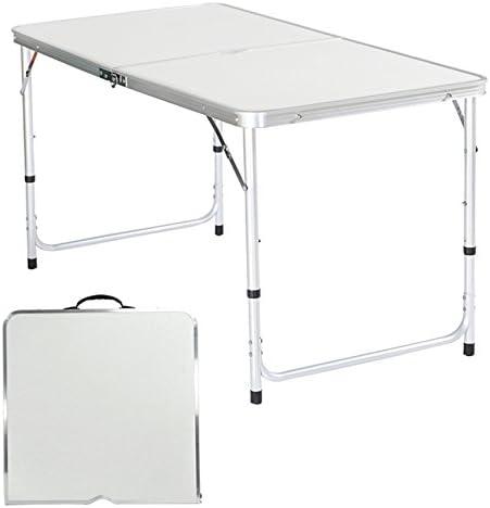 BATHWA 120 x 60 x 69cm Campingtisch Klapptisch Faltbarer Gartentisch Koffertisch Weiß (Campingtisch)