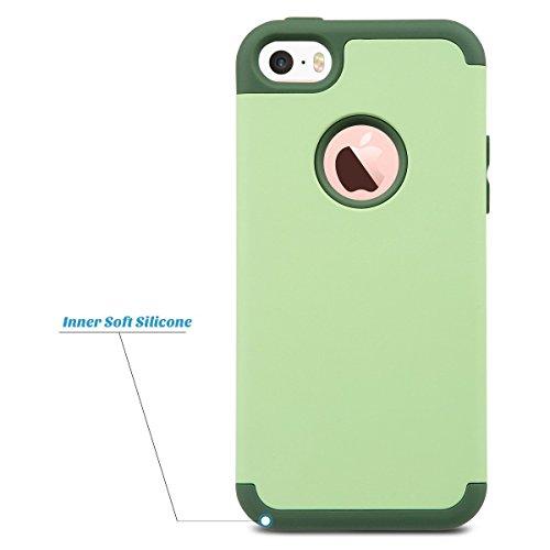ULAK iPhone 5 Caso iPhone SE funda iPhone 5s cases caja hñbrida de alto impacto de silicona suave y cubierta de la caja dura de la PC para el iPhone 5 / 5S / SE (color de rosa + púrpura) Verde
