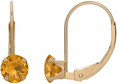 5MM Round Natural Yellow Citrine 10K Yellow Gold Leverback Earrings