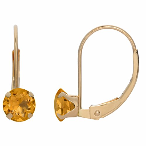 5MM Round Natural Yellow Citrine 10K Yellow Gold Leverback Earrings - Gold Citrine Pierced Earrings