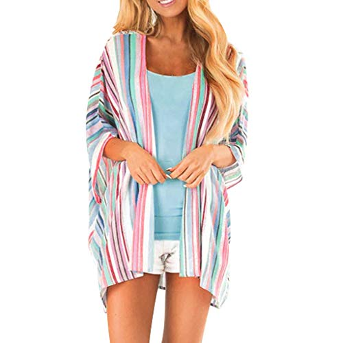 LUXISDE Womens Tops Womens Tops Short Sleeve Fashion Womens Ladies Striped Print Cardigan Long Blouse Loose Tops Outwear(Multicolor,M)