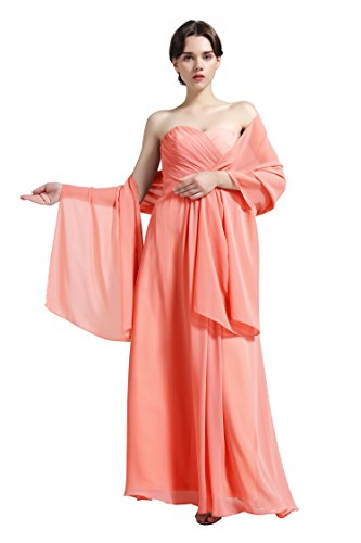 Sheer Soft Chiffon Bridal Women's Shawl For Special Occasions Coral
