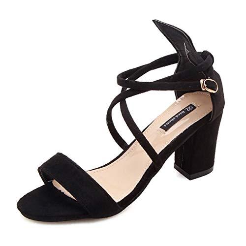 Boucle Chaussures 38 Femme Hauts Taille Pour Lacets Fr En Lanière Croix De Avec Beige Talons Noir Sandales À couleur Poisson Épais xUwW4O1zq