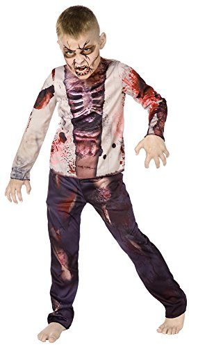 Bristol Novelty CC917 Zombie Boy 3D Dress, Multi-Colour, Medium, Approx Age 5 - 7 Years, Zombie Boy 3D -