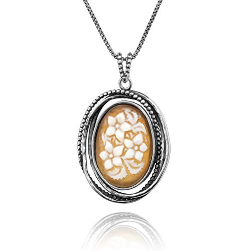Vintage Cameo Locket - PZ Paz Creations .925 Sterling Silver Vintage Style Cameo Pendant Necklace