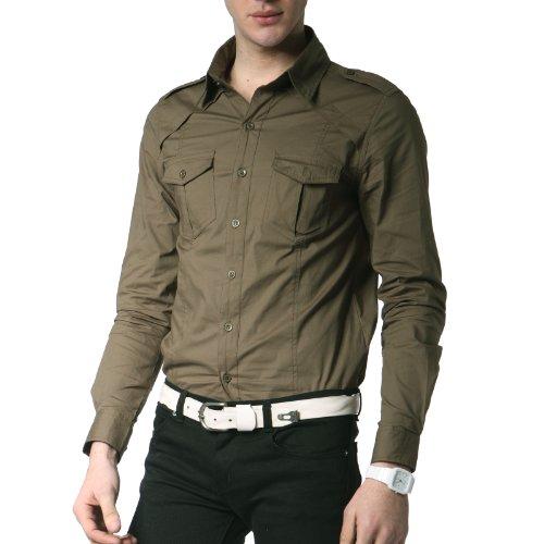 Doublju mens dress shirt with epaulet khaki asia xx for Mens khaki shirt outfit
