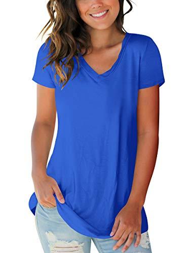 Womens Short Sleeve V Neck Spring Summer T Shirts Cute Tops Soft Slim Fit Blue M