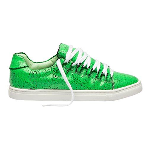 Baskets Tedish Dames Chaussures De Marche Fille En Cuir Décontractée Confortable Lacets Flats Td004 Orabelle Classique Vert Classique Vert