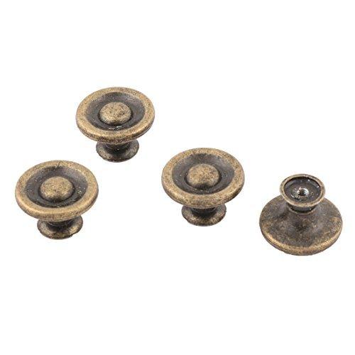 DealMux metal forma redonda Mveis Peas gaveta do armrio da porta puxador Knob 4 Pcs Bronze Tone