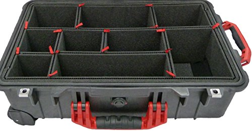 TrekPak Divider System for the Pelican 1510 case. Includes 2 Red handles & 2 Red latches. by CVPKG and Pelican