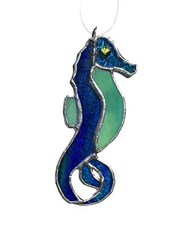 Green Seahorse Stained Glass Sun Catcher
