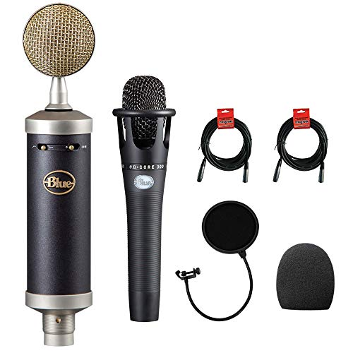 Blue Baby Bottle SL Studio Condenser Microphone with Blue Microphones enCORE 300 Mic, Foam Windscreen, XLR Cable & Pop Filter Bundle