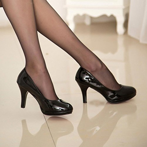 Hunpta Frühling Casual Frauen Büro Shallow Mund Runde Toe Dicke High Heel Schuhe Schwarz