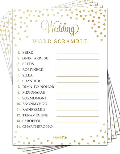 Wedding Word Scramble Game Cards (50 Pack) - Bridal Shower Games - Bachelorette Party Games Ideas Activities Supplies ()