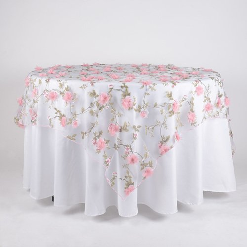 BBCrafts 72 Inch X 72 Inch Organza with Roses Print Tablecloth Overlay (Pink)