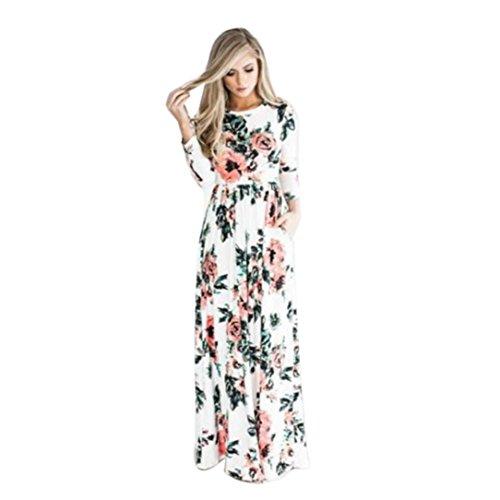 Vestido Para Mujer, Ularma Mujeres Floral impresión manga vestido Boho damas Maxi largo vestido de noche largo Blanco