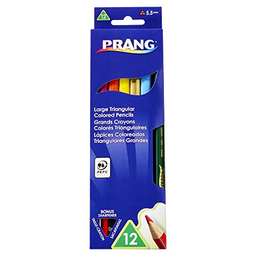Prang Large Triangular Colored Pencils, 5.5 Millimeter Cores, Includes Sharpener, Assorted Colors, 12 Count - Team Assortment Pencils Green